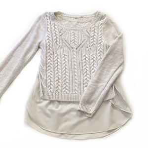 Moth • Anthro Ella Layered Cable Sweater